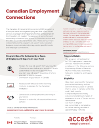 Canadian employment connections program flyer