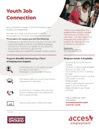 youth job connection program flyer